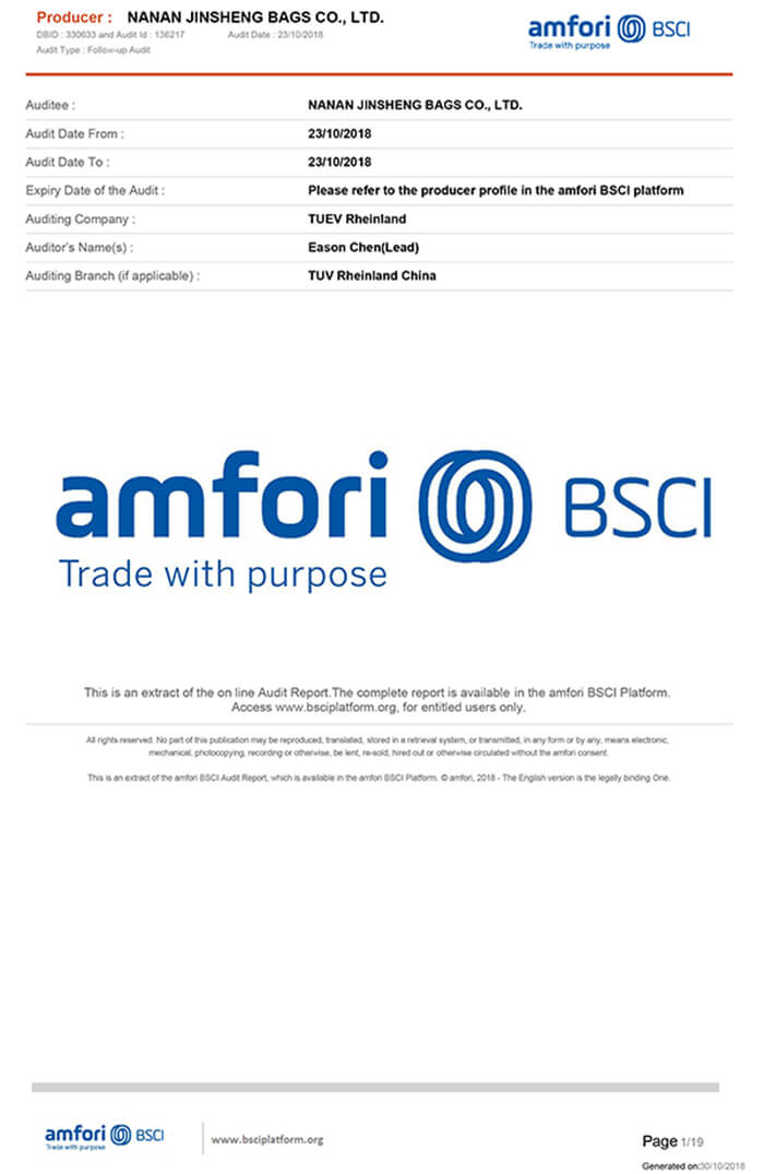 BSCI bags factory