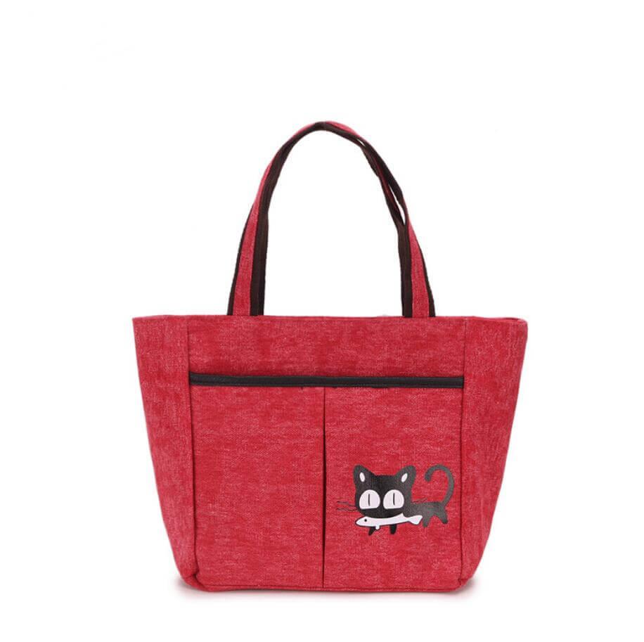 Ladies handbag small shopping bag -red