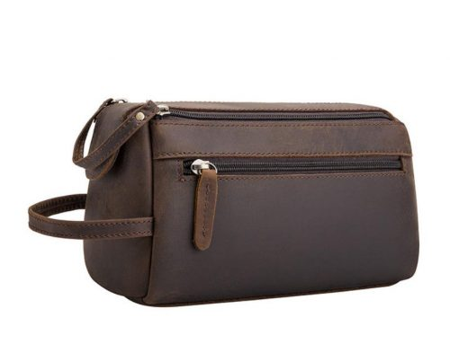leather mans wash gargle bag cosmetic bag with own logo